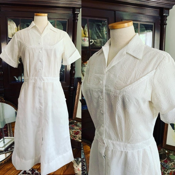 Vintage 50s Nurse Uniform Dress, Vintage Poly Napk