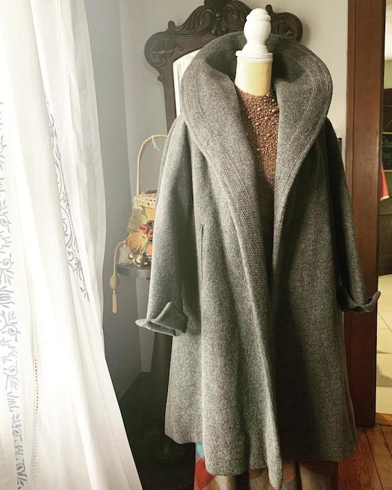 40s Grey Coat, 40s Grey Wool Coat, 40s Grey Cocoon