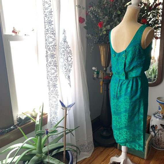 50s Iridescent Green Wiggle Dress, 50s Green Dres… - image 3