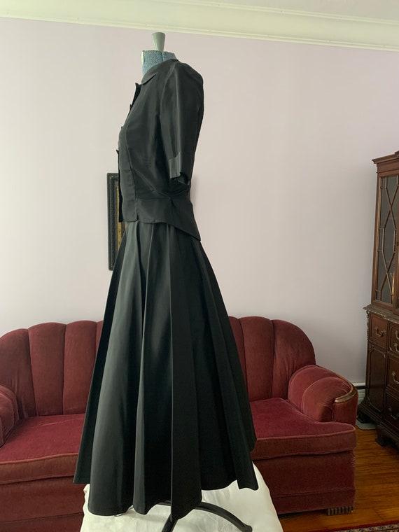 40s Black Taffeta Suit, 40s Circle Skirt, Vintage… - image 8