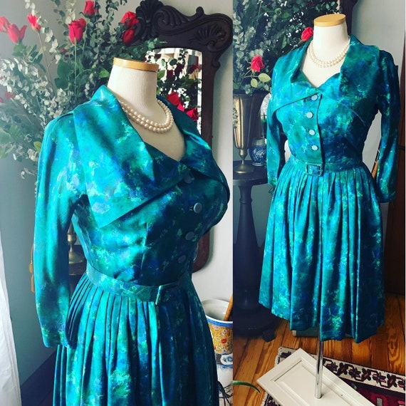 50s Raw Silk Dress, Voluptuous Vintage Dress, Size