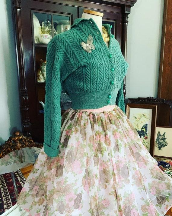 Vintage Sheer Floral Skirt, 50s Chiffon Overlay Sk