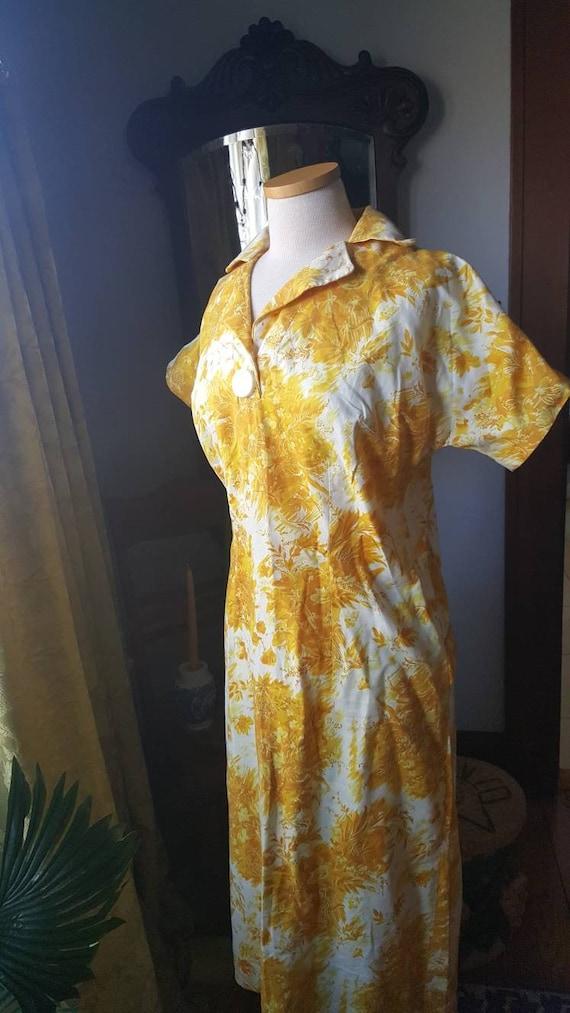 1940s Mustard Yellow Dress, 40s Volup Size Golden… - image 8