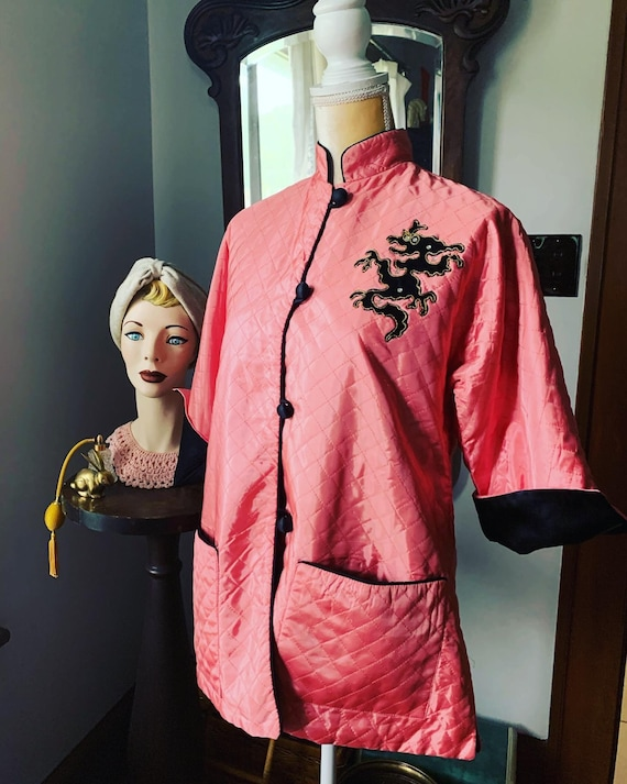 40s Pink Quilted Robe Jacket, 40s Asian Pink Quilt