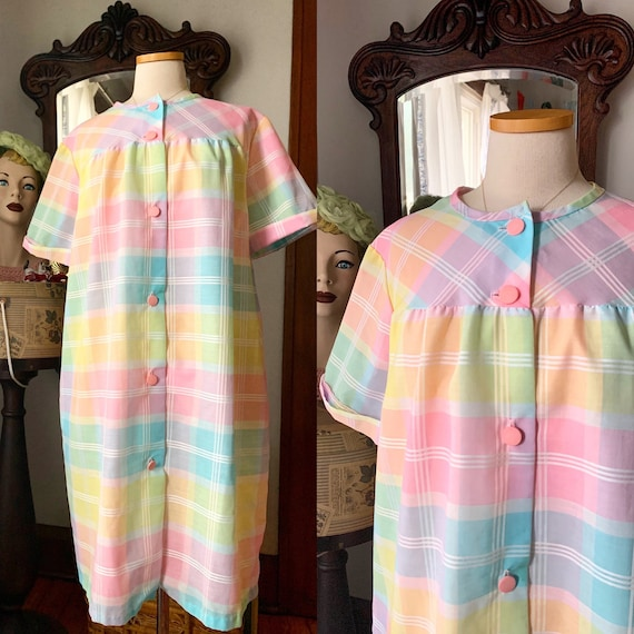 Vintage Pastel Plaid Rainbow Nightgown House Coat,
