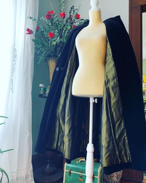 40s Velvet Swing Coat, 40s Black Velour Coat, 40s