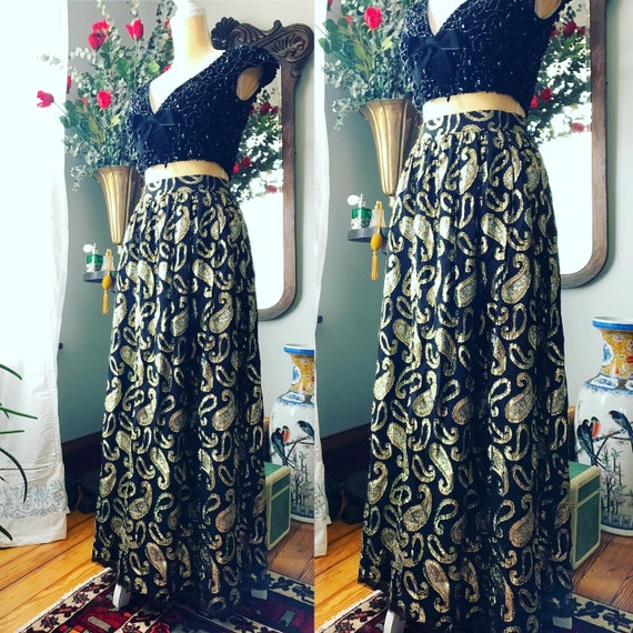 Vintage Metallic Skirt, Vintage Long High Waist Sk