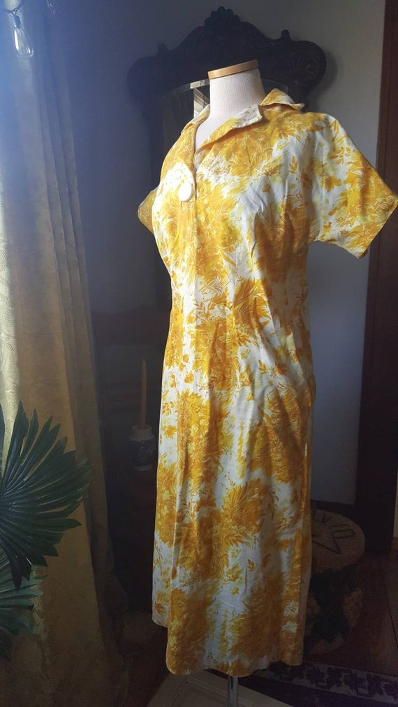 1940s Mustard Yellow Dress, 40s Volup Size Golden… - image 9