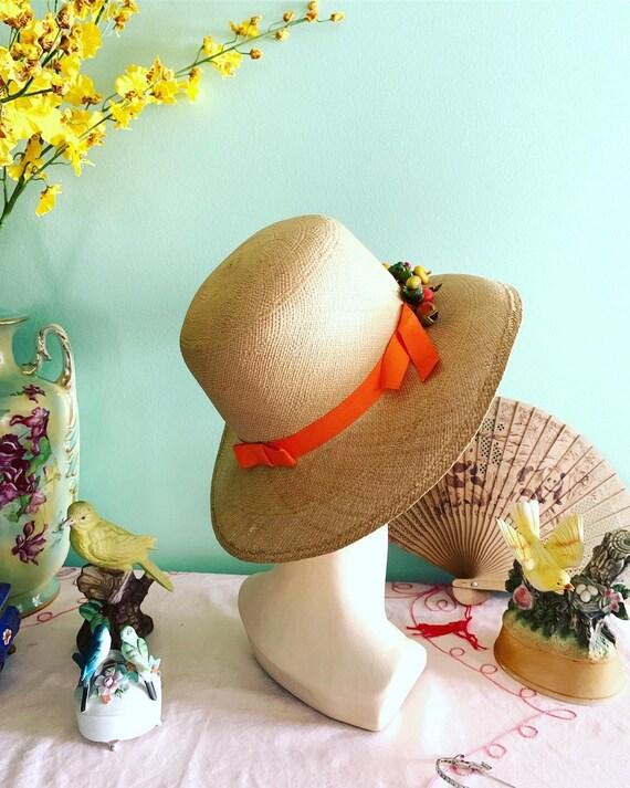 50s Straw Hat, 40s Straw Hat, Vegetable Straw Hat… - image 3