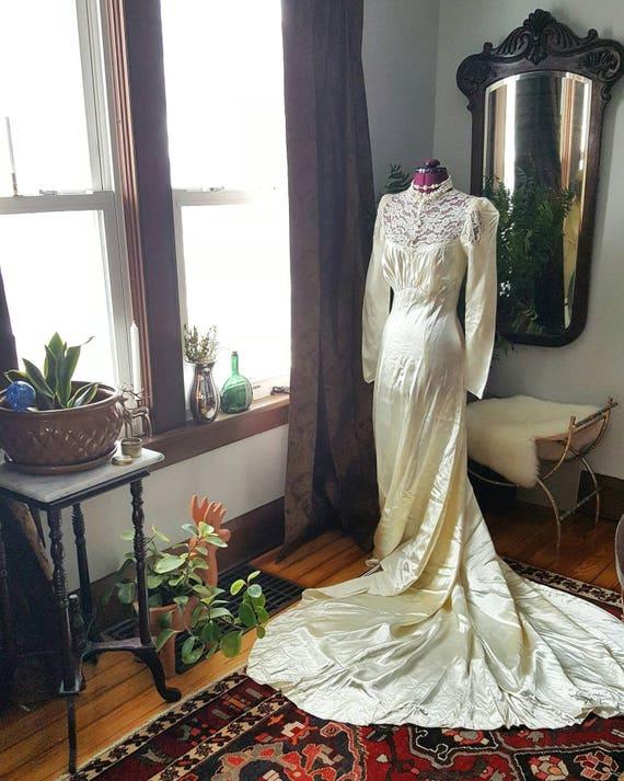 1930s Liquid Satin Dress, 40s Liquid Satin Dress,