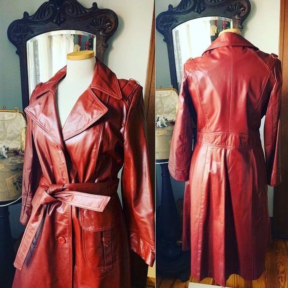 70s Brick Red Leather Jacket, Size Medium Red Leat