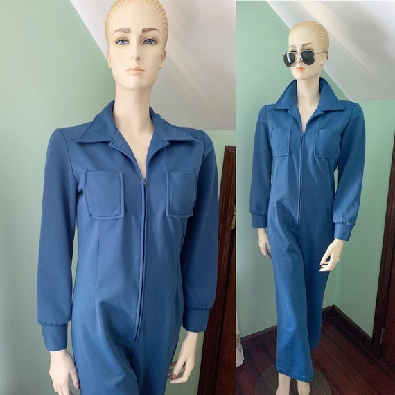 70s Blue Jumpsuit, 70s Size Medium Jumpsuit, 70s R