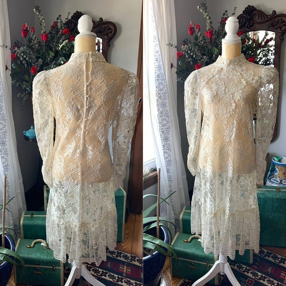 80s Lace Bridal Dress, 80s Does Victorian Wedding