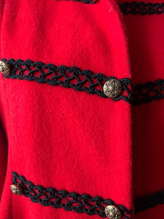 Vintage Red Princess Coat, Vintage Red Wool Fit A… - image 4