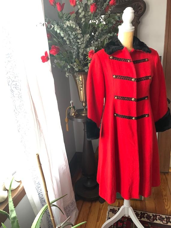 Vintage Red Princess Coat, Vintage Red Wool Fit A… - image 3