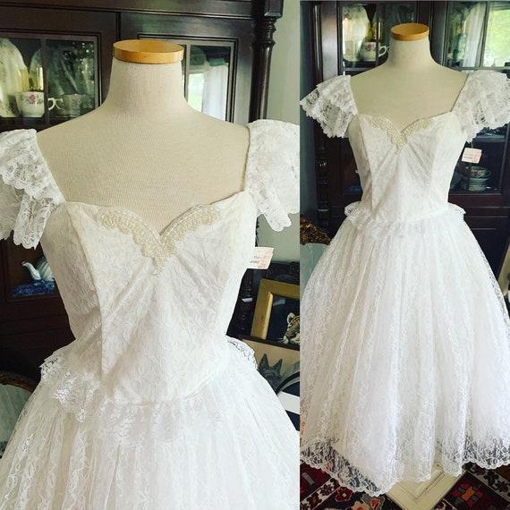 80s White Lace Gunne Sax Style Dress, Vintage Gunn