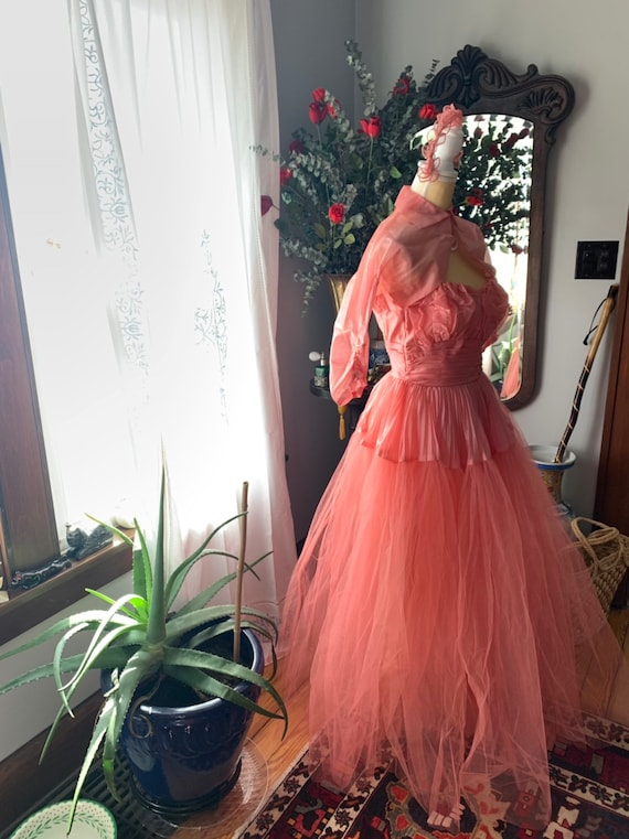50s Rose Pink Tulle Dress, 50s Pink Tulle Dress, … - image 6