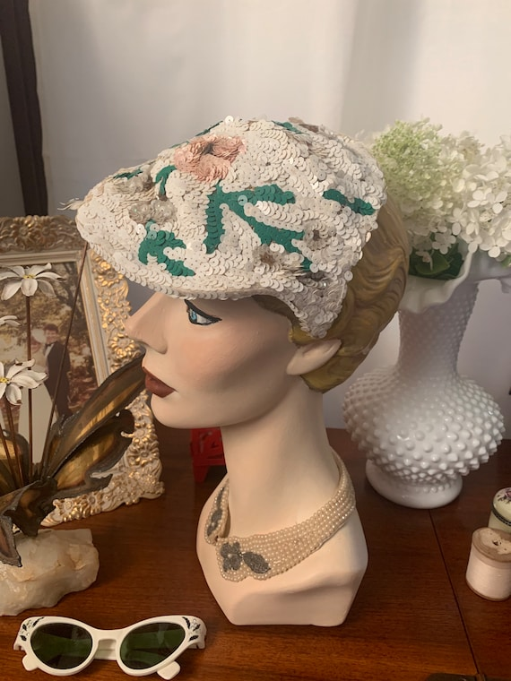 50s Sequined Visor Hat, 50s Sequined Pink Flower … - image 3