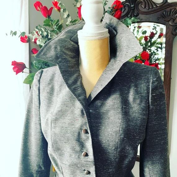 40s Grey Dress Suit, 40s Leslie Fay Pencil Suit, … - image 2