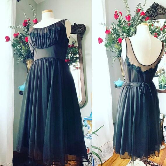 50s Nylon Nightgown, 50s Black Lingerie, 50s Low S