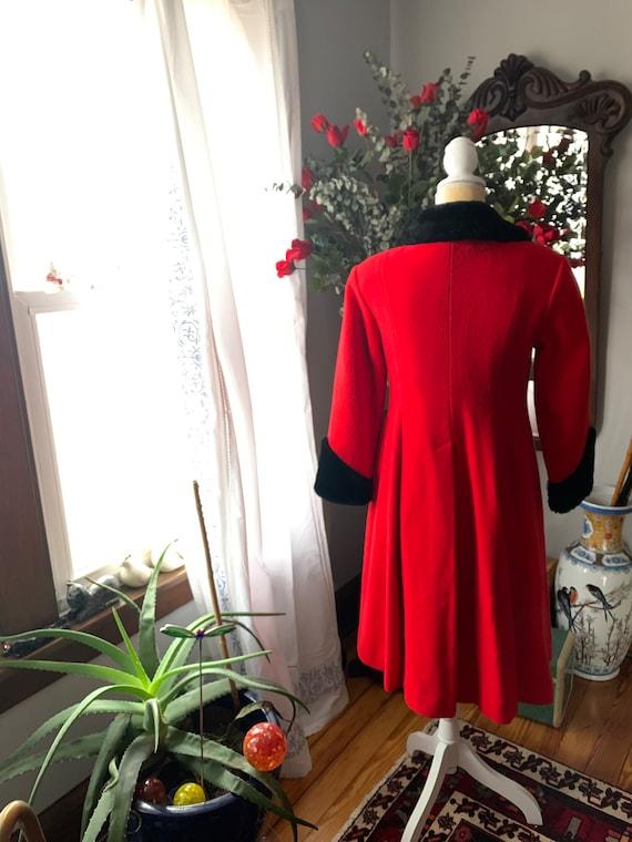 Vintage Red Princess Coat, Vintage Red Wool Fit A… - image 8