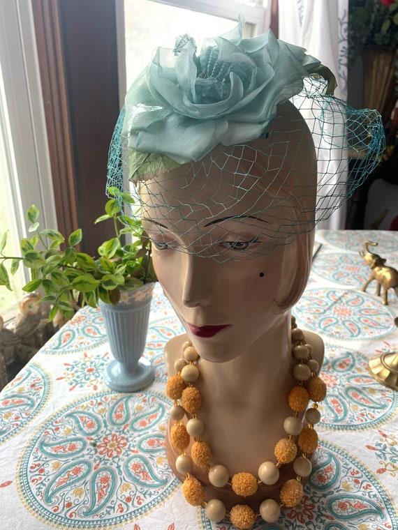 50s Blue Rose Fascinator, 50s Rose Mini Hat, 50s … - image 5