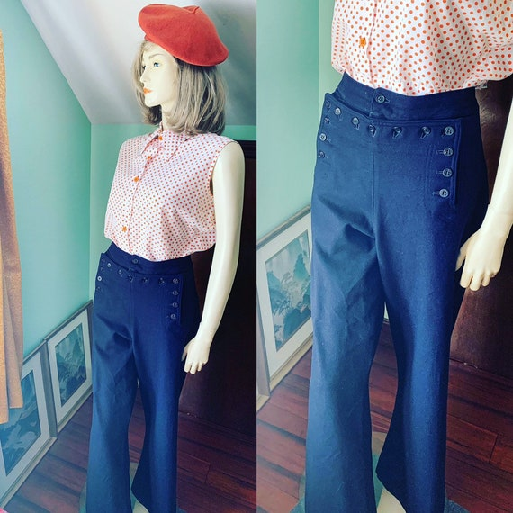1940s Sailor Pants, 40s Sailor Pants, Navy Blue Pa