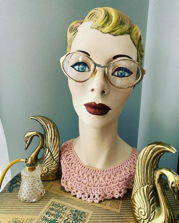 Vintage Gold Eyeglasses, 50s Metallic Gold Eye Gla
