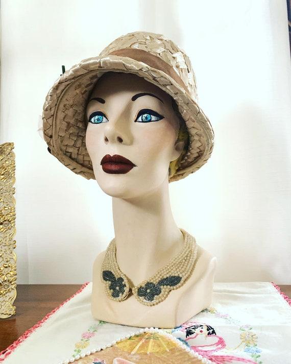 Vintage Raffia Straw Hat, Vintage Crochet Hat, 50s