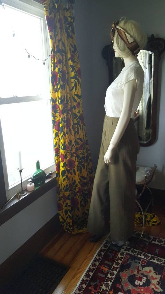 Wool World High Vintage 1940s 40's Green Pants Two WWII Army 40s Waist Women's WW2 War Men's 4xaAzw
