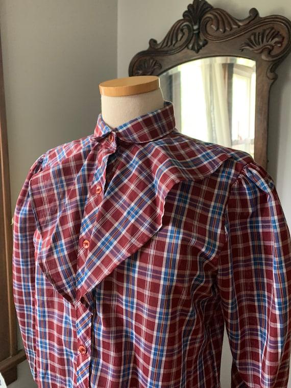 Plaid Prairie Blouse, Vintage Plaid Prairie Shirt… - image 9