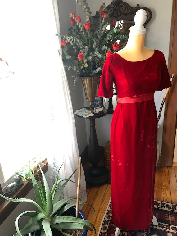 Vintage Red Velvet Dress, 60s Red Velvet Dress, F… - image 3