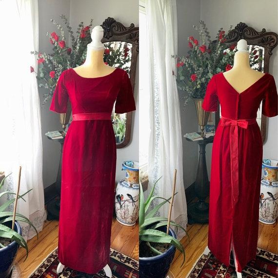 Vintage Red Velvet Dress, 60s Red Velvet Dress, Fo