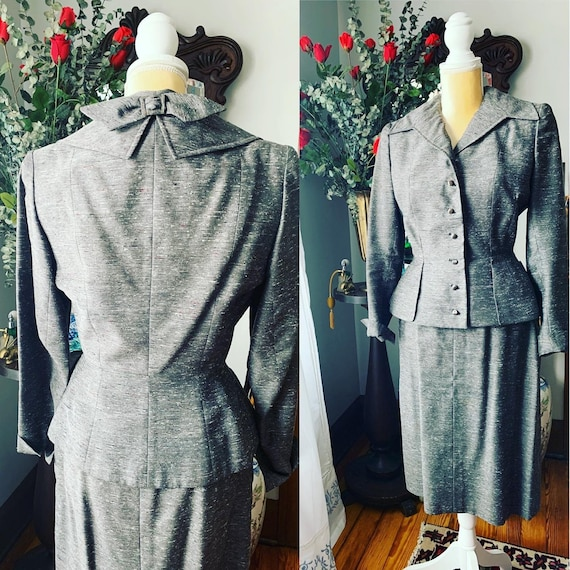 40s Grey Dress Suit, 40s Leslie Fay Pencil Suit, V
