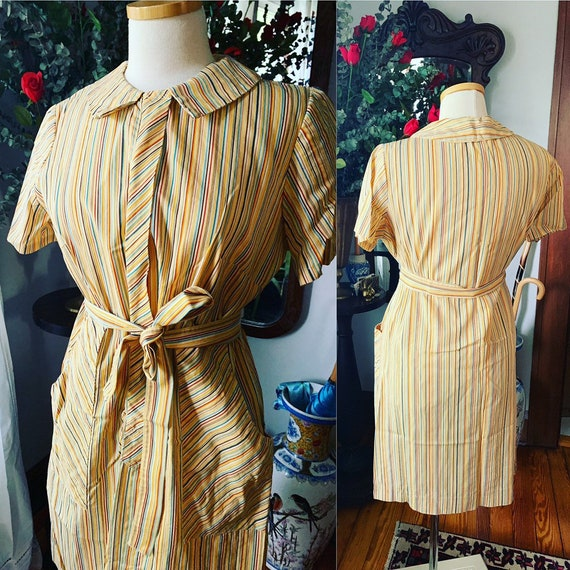 50s Striped Dress, 60s Striped Dress, Vintage Dres