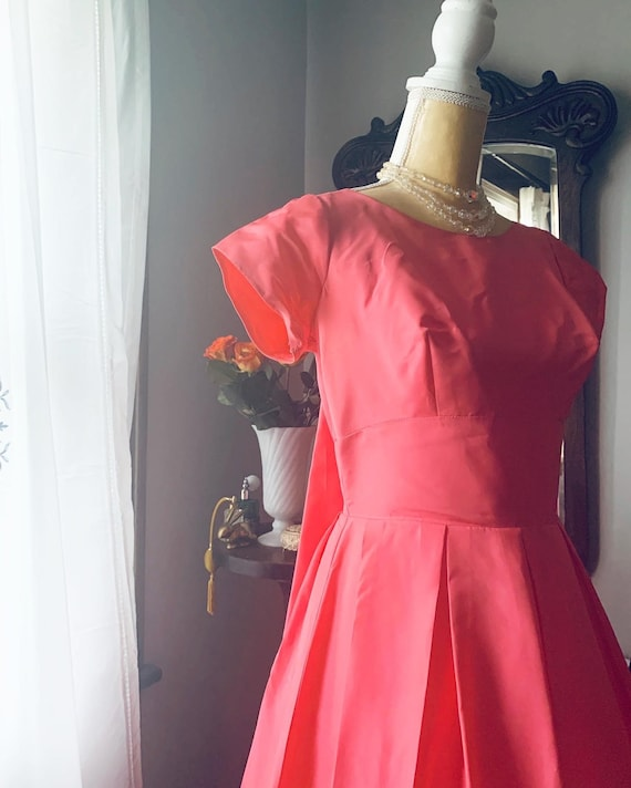 50s Pink Fishtail Dress, 50s Pink Formal Dress, 5… - image 2