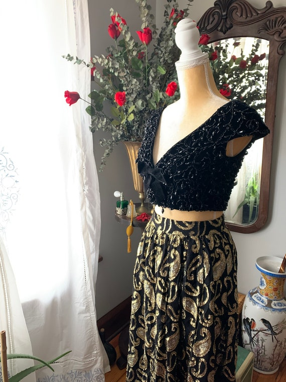 Vintage Metallic Skirt, Vintage Long High Waist S… - image 6