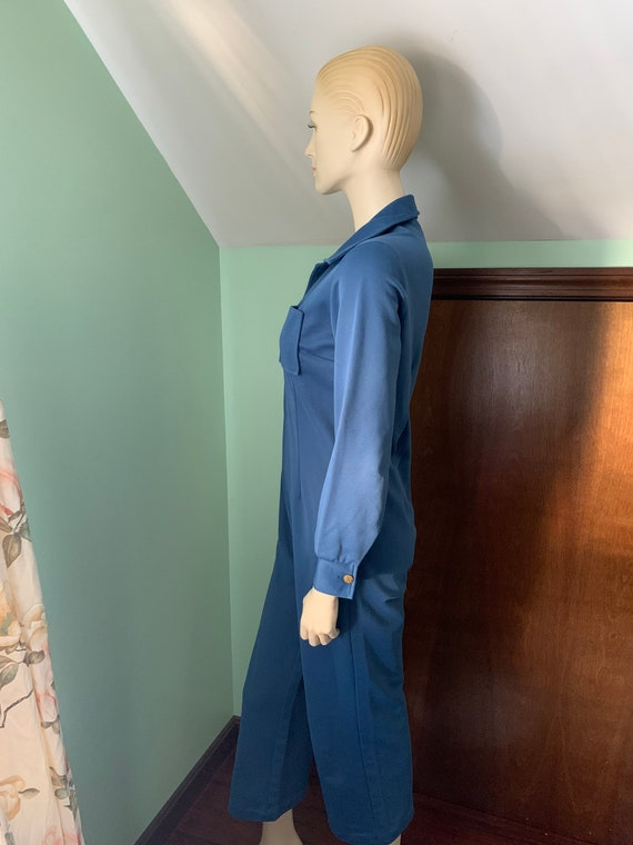 70s Blue Jumpsuit, 70s Size Medium Jumpsuit, 70s … - image 6