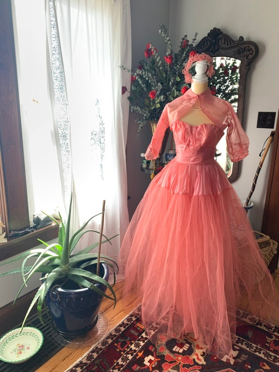 50s Rose Pink Tulle Dress, 50s Pink Tulle Dress, … - image 7