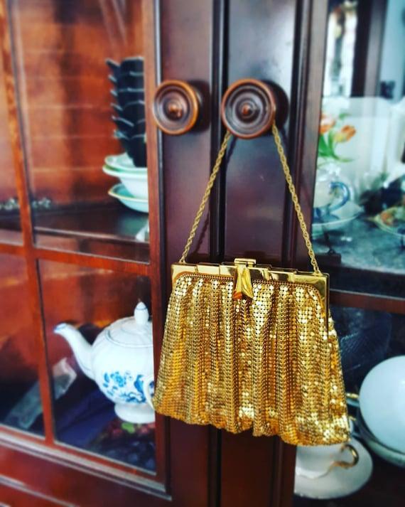 1920s 20s Flapper Gold Metallic Metal Mesh Purse,