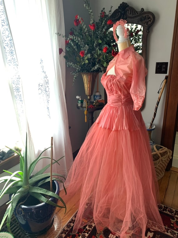 50s Rose Pink Tulle Dress, 50s Pink Tulle Dress, … - image 9