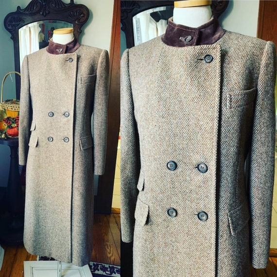 Vintage Full Length Tweed Power Coat, 90s Brown Tw