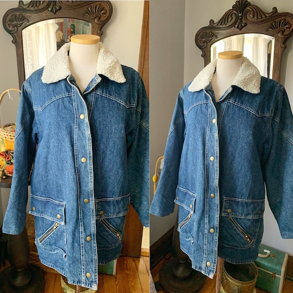 Vintage Denim Jacket, Fleece Collar Denim Jacket,