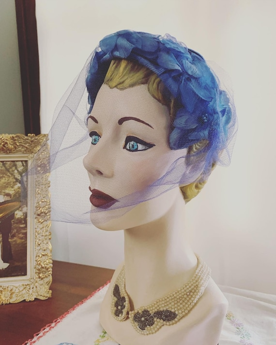 50s Blue Flower Veil Fascinator, Vintage Blue Wedd