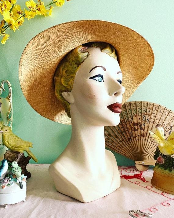 50s Straw Hat, 40s Straw Hat, Vegetable Straw Hat… - image 5