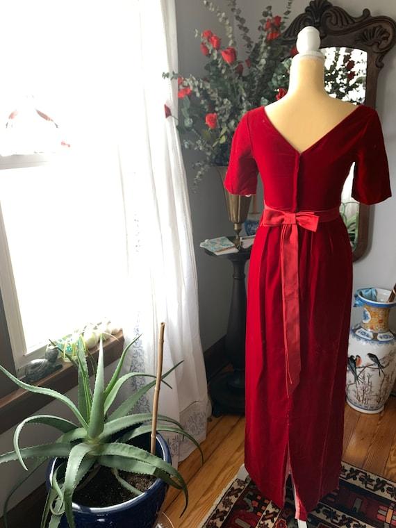 Vintage Red Velvet Dress, 60s Red Velvet Dress, F… - image 4