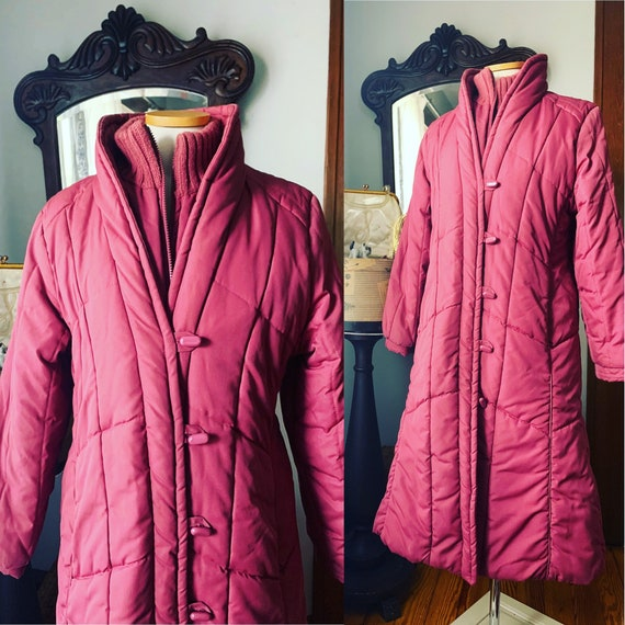 Vintage Pink Puffer Coat, 80s Pink Puffer Coat, Lo