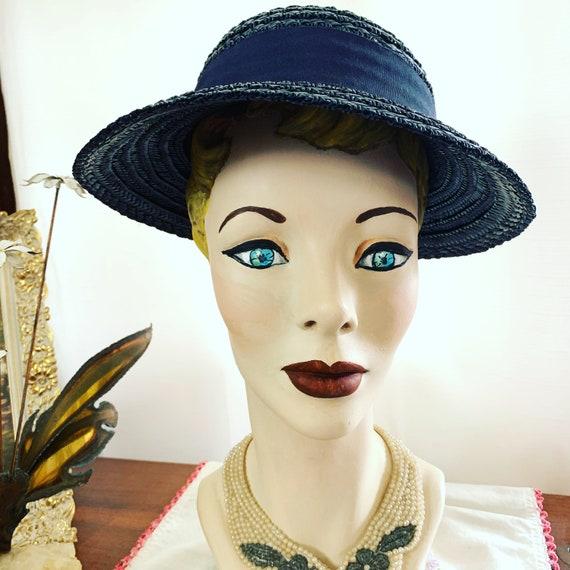 40s Navy Blue Straw Hat, 40s Blue Summer Hat, 40s… - image 4
