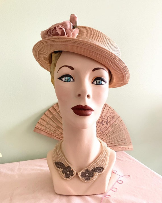 Vintage Boater Hat, 50s Straw Boater Hat, 50s Summ