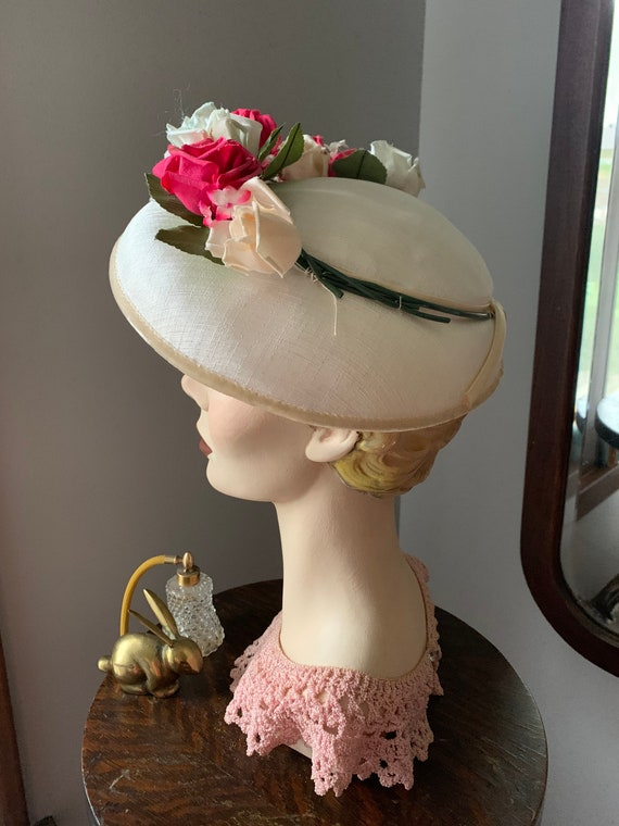 50s Rose Hat, Vintage Hat With Roses, 50s Flower … - image 8